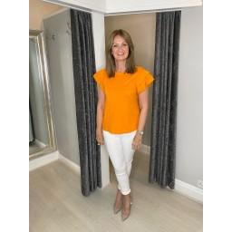 Lucy Cobb Lexi Frill Arm T-shirt in Orange