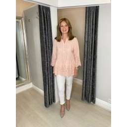Lucy Cobb Bailee Broderie Smock Top - Blush Pink