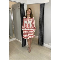 Lucy Cobb Aztec Tiered Dress in Red