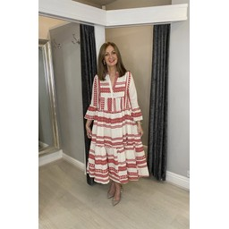 Lucy Cobb Aztec Tiered Maxi Dress in Red