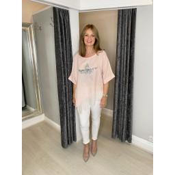 Lucy Cobb Serenity Sequin Star Linen Top in Baby Pink