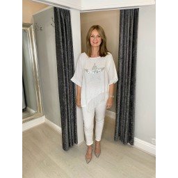 Lucy Cobb Serenity Sequin Star Linen Top in White