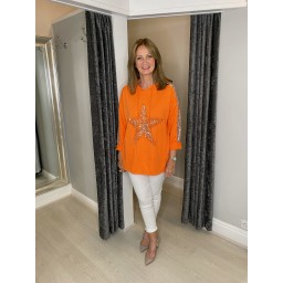 Lucy Cobb Leia Sequin Star Hoodie in Orange