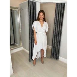 Lucy Cobb Devora Dip Hem Dress in White