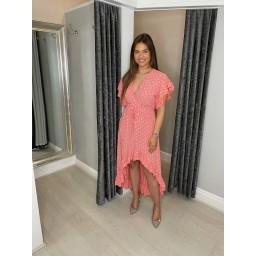 Lucy Cobb Devora Dip Hem Dress in Coral