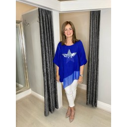Lucy Cobb Serenity Sequin Star Linen Top in Royal