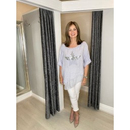 Lucy Cobb Serenity Sequin Star Linen Top in Silver Grey