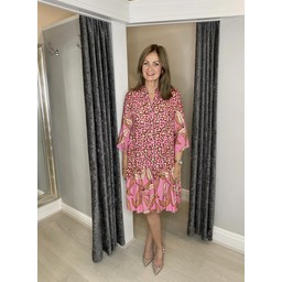 Lucy Cobb Fion Floral Smock Dress in Pink