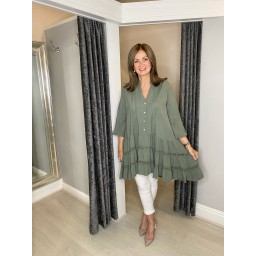 Lucy Cobb Cora Crochet Tunic in Khaki