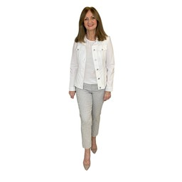 Robell Trousers Rose 09 Diamond Check Trousers - Light Grey
