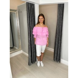 Lucy Cobb Finlee Frill Bardot top in Pink