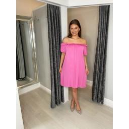 Lucy Cobb Brandi Bardot Dress in Fuchsia