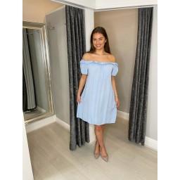 Lucy Cobb Brandi Bardot Dress in Pale Blue