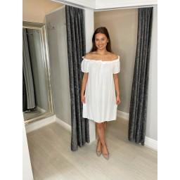 Lucy Cobb Brandi Bardot Dress in White