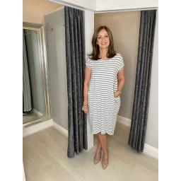 Lucy Cobb Striped Taylor T Shirt Dress in Marl Grey