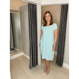 Lucy Cobb Striped Taylor T Shirt Dress in Mint