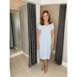 Lucy Cobb Striped Taylor T Shirt Dress in Pale Blue