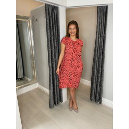 Lucy Cobb Taylor Leopard Print 2 Dress in Coral
