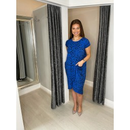 Lucy Cobb Taylor Leopard Print 2 Dress in Royal