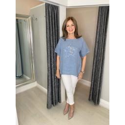 Lucy Cobb Liana Linen Star Top in Denim Blue