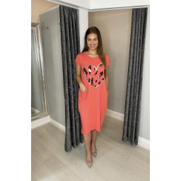 Lucy Cobb Taylor Heart T Shirt Dress in Coral