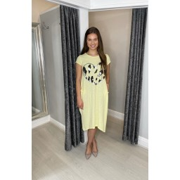 Lucy Cobb Taylor Heart T Shirt Dress in Yellow