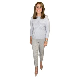 Robell Trousers Rose 09 Geo Rope Trousers  in Taupe