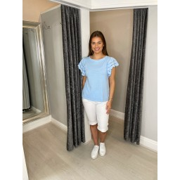 Lucy Cobb Lori Broderie Sleeve T Shirt - Pale Blue