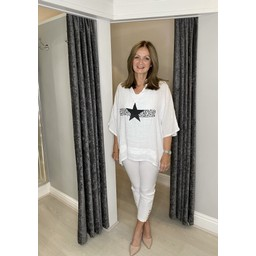Lucy Cobb Anteras Star Linen Top in White