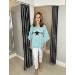 Lucy Cobb Anteras Star Linen Top in Mint