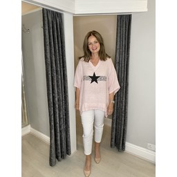 Lucy Cobb Anteras Star Linen Top in Baby Pink
