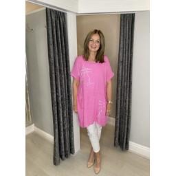 Lucy Cobb Antibes Linen Dress in Fuchsia