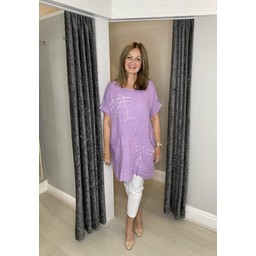 Lucy Cobb Antibes Linen Dress in Lilac