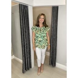 Lucy Cobb Bonnie Bardot Leopard Print Top in Green Mix
