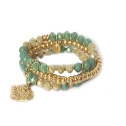 Lucy Cobb Jewellery Triple Layer Bead Heart Bracelet 1081 in Green