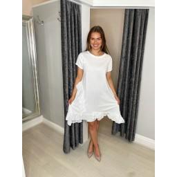 Lucy Cobb Ella Frill Dress  in White