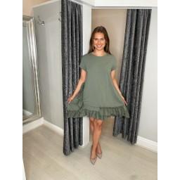Lucy Cobb Ella Frill Dress  in Khaki