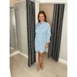 Lucy Cobb Regean Pastel Leopard Shirt Dress in Pale Blue