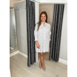 Lucy Cobb Regean Pastel Leopard Shirt Dress in Silver Grey
