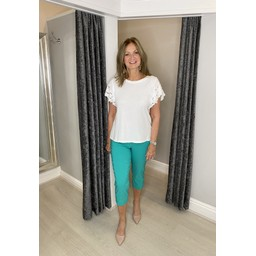 Lucy Cobb Lori Broderie Sleeve T Shirt in White