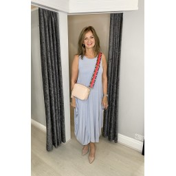 Lucy Cobb Tara Sleeveless Panel Dress in Silver Grey