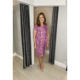 Lucy Cobb Taylor Leopard Print 2 Dress in Pink