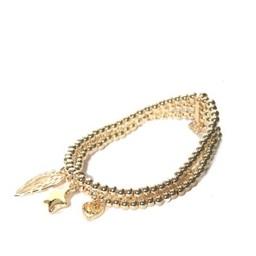 Lucy Cobb Jewellery Three Charm Beaded Bracelet 941 - Gold