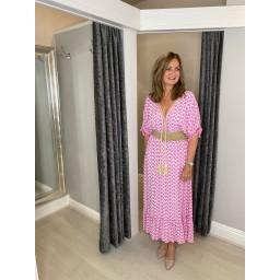Lucy Cobb Maya Tassel Midi Dress in Pink