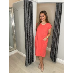 Lucy Cobb Taylor T Shirt Dress in Coral