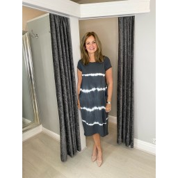 Lucy Cobb Taylor Tie Dye T Shirt Dress in Charcoal