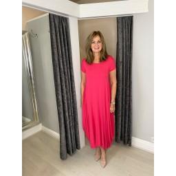 Lucy Cobb Tara Cap Sleeve Dress in Fuchsia