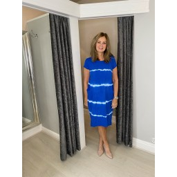 Lucy Cobb Taylor Tie Dye T Shirt Dress in Royal