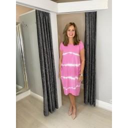 Lucy Cobb Taylor Tie Dye T Shirt Dress in Bubblegum Pink