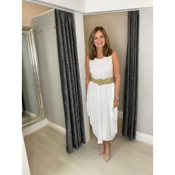 Lucy Cobb Tara Sleeveless Panel Dress in White